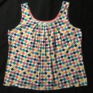 Boden Gathered Tank, Size 16, Fun Print!